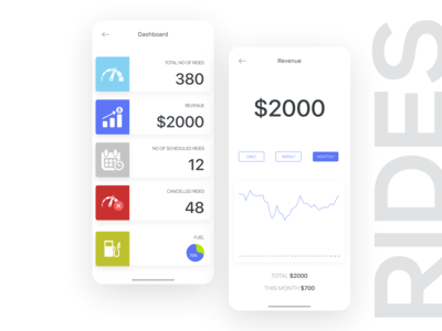 Dashboard for ride sharing company.