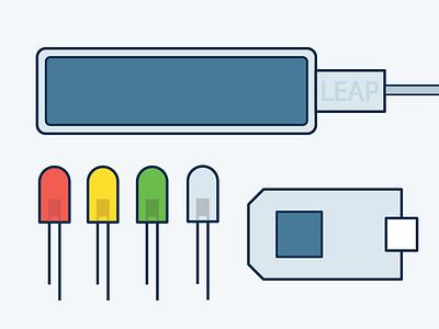 Leap Motion vector illustrations bulb arduino led electronics leapmotion flatdesign typography adobe illustrator
