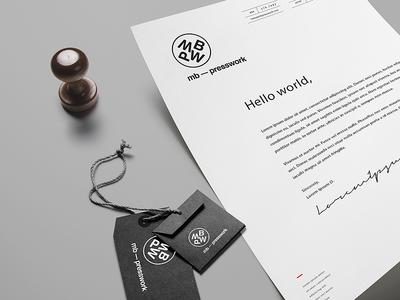 MB Presswork –– Branding monochromatic simple letters minimal design logo branding