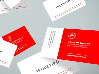 Arquetipo Branding minimal clean construction arquitect red business cards