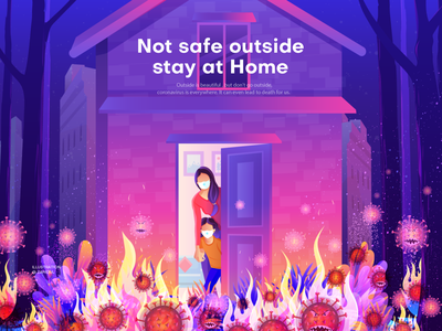 Stay at Home banner design poster design vector digital art house landing page illustration ui illustration illustration covid 19 corona virus illustration