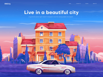 City Illustration vector app illustration web page illustration town car building color home page illustratio ui landing page illustration ui illustration illustration