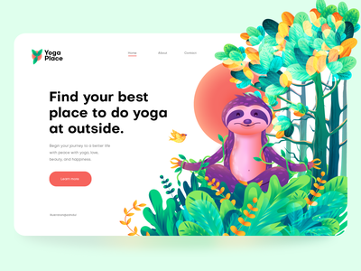 Yoga Place, hero image illustration tree animal forest jungle sloth web page illustration hero image illustration banner poster home page illustration app illustration vector landing page illustration ui illustration illustration