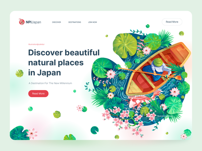 Hero image illustration, Lily pond japanese japan hero banner web page image hero section website illustration hero image vector art home page illustration beautiful illustration illustration trend pond leaf web page illustration boat app illustration poster landing page illustration ui illustration illustration