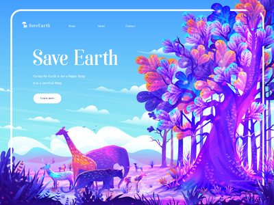 Save Earth Home Page Illustration color colorful illustration ui banner jungle digital art vector tree animals nature web page illustration hero image illustration hero images app illustration landing page illustration ui illustration illustration