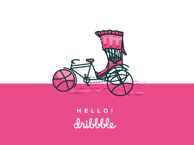 Hello dribbble ( Dribbble Rickshaw ) art first shot logo illustration line art bangladesh dhaka rickshaw hello! dribbble hello dribbble