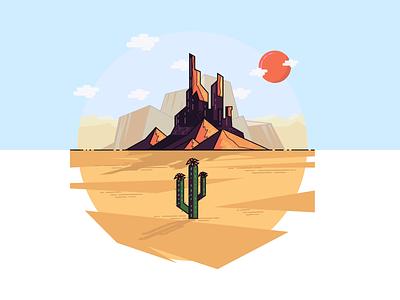 Last Plant On Earth  line art art mountain sun cactus desert oasis sand illustration plant