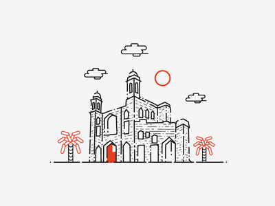 Lalbagh Fort lalbagh fort castle dhaka bangladesh logo historical place house old building fort line art palm tree sky