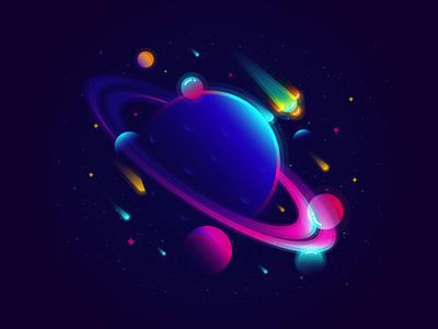Planet sky illustration vector gradient color star meteor saturn space planet