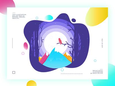 Bright Night color landing page poster nature moonlight midnight illustration owl mountain night
