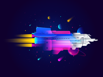 Futuristic Spacecraft illustration rocket sky planet space colorful spaceship gradient spacecraft space ship