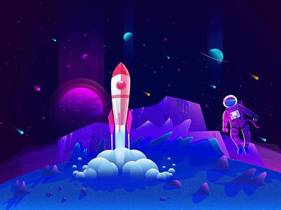 Space cosmos spaceship sky moon astronaut cosmonaut planet illustration space