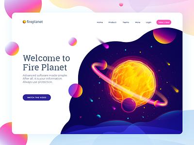 Fire Planet sun space header website color fantastic planet planet illustration
