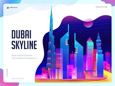 Dubai Skyline Illustration uae trend poster burj khalifa gradient vibrant color building skyline arab emirates skyline dubai