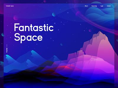 Fantastic Space Illustration wallpaper poster planet landing page web header color overlay gradient color mountain illustration