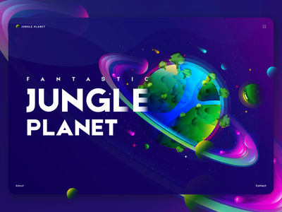 Jungle Planet web header poster space gradient overlay vibrant color fantastic planet illustration