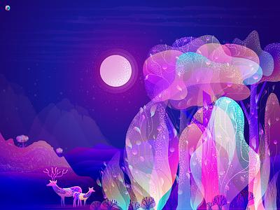 Fantastic Forest noise effect grain stipple night illustration beautiful illustration deer nature moon night tree forest