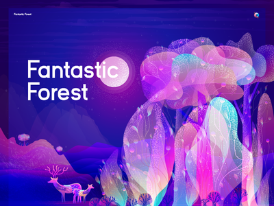 Fantastic Forest noise effect grain stipple night illustration beautiful illustration deer nature moon night tree forest