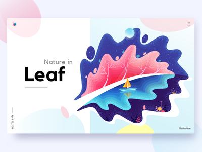 Nature in Leaf poster boat water noise grain stipple color nature leaf flat illustration illustration