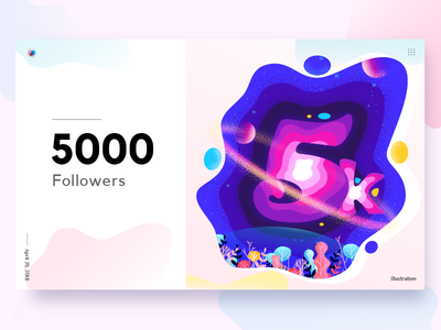 5k Followers color leaf poster planet space 5 number illustration followers 5k 5000