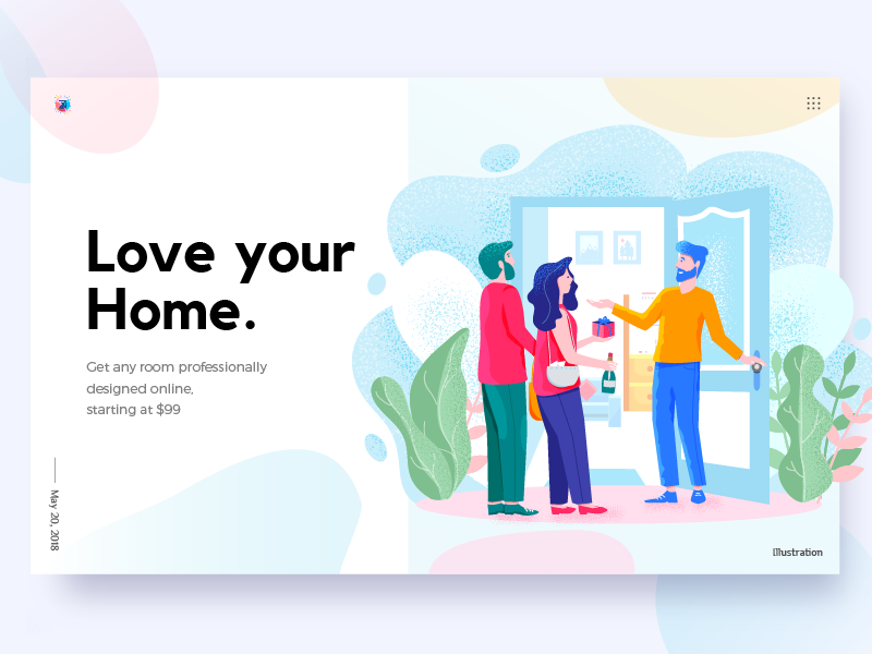 Home Page Illustration for stuccco noise effect flat design man lady vector home leaf landing page illustration illustration people