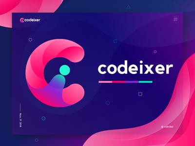 codeixer logo ( Ci logo mark) poster technology logo gradient logo ci branding logo symbol logo mark logo