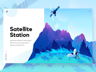 Satellite Station In Planet poster hill rock color space planet station satellite mountain nature illustration