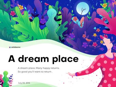 A dream place Illustration banner flower human women girl night home page poster color nature leaf illustration