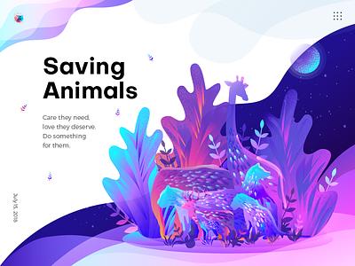 Saving Animals Illustration banner jungle wallpaper night poster trend flat design leaf animals noise gradient color illustration