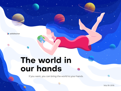 The world in our hands landing page illustration banner planet space girl people human wallpaper poster flat design digital art illustration