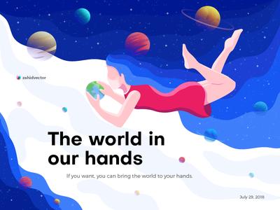 The world in our hands landing page illustration banner planet space girl people human wallpaper poster flat design digital art illustration