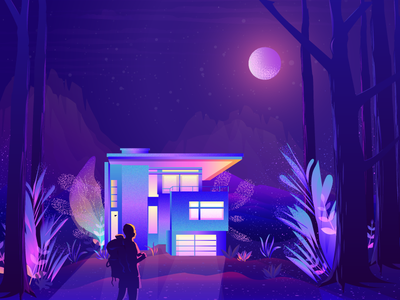 Travel Illustration jungle traveler house wallpaper moon night leaf noise vibrant color illustration gradient color illustration