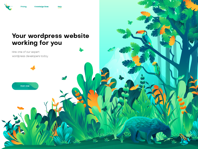 Hero image Illustration for wild press ui illustration flat illustration green leaf wild forest landing page illustration home page illustration hero image illustration illustrator illustration