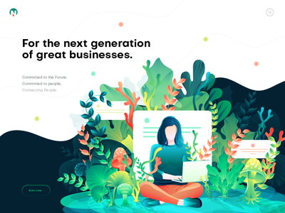 Hero image illustration for business page. illustrator vibrant color illustration hero image landing page illustration gradient leaf ui illustration girl with laptop header illustration illustration