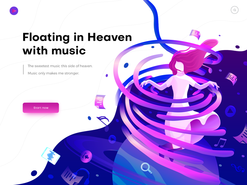 Hero image illustration for music planet color home page illustration header illustration people girl ui music gradient illustration