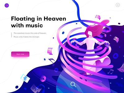 Hero image illustration for music planet color home page illustration header illustration people girl ui music gradient illustration
