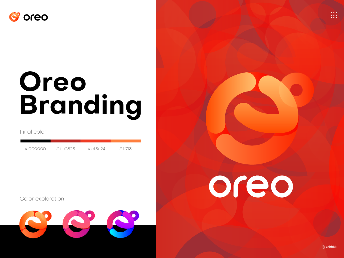 Oreo Branding gradient logo logo mark tech logo icon playful logo logo branding