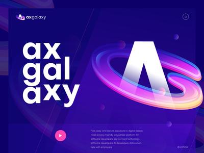 AxGalaxy Logo branding header design poster banner design technology logo galaxy logo logo mark logo symbol icon logo