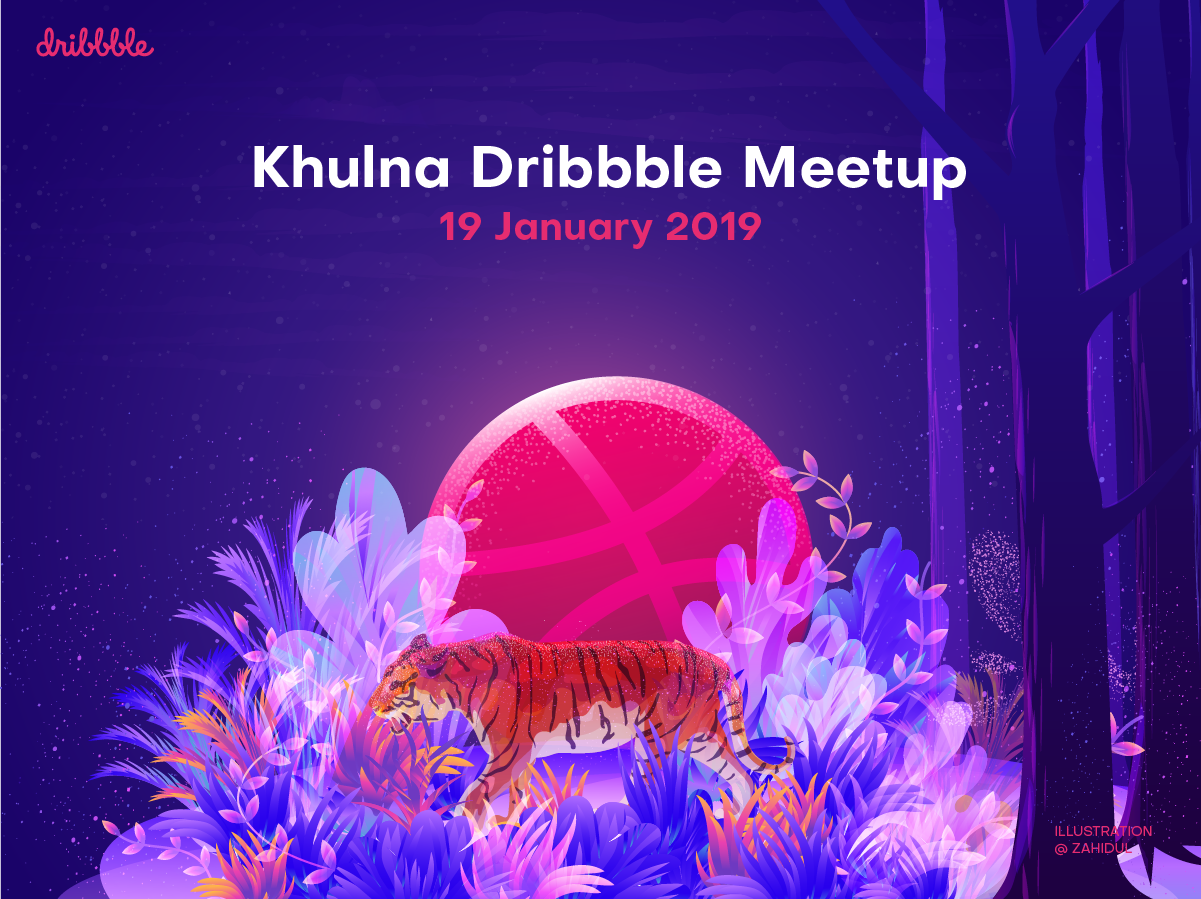 Khulna dribbble Meetup animal banner design poster ui illustration tiger jungle forest meetup dribbble illustration