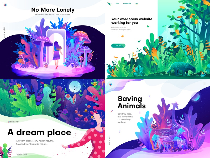 Top 4 of 2018 digital art gradient illustration colorful illustration playful illustration 2018 trend landing page illustration home page illustration hero image illustration ui illustration illustration