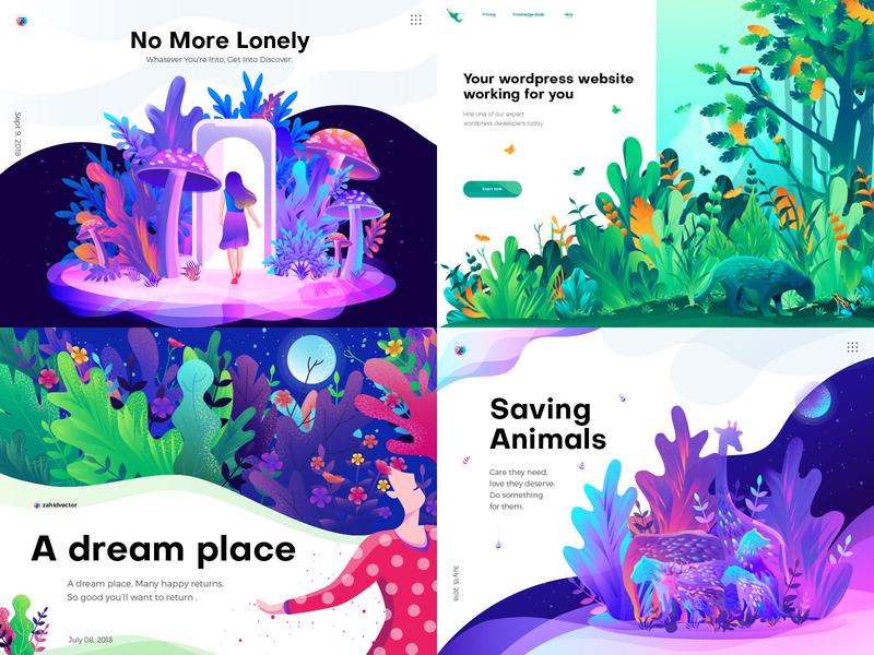 Top 4 of 2018 digital art gradient illustration colorful illustration playful illustration 2018 trend landing page illustration home page illustration hero image illustration ui illustration illustration