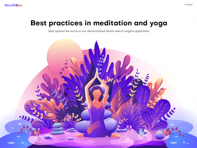 Yoga Illustration landing page art digital art home page illustration vibrant color illustration leaf women ui illustration hero image illustration yoga illustration illustration