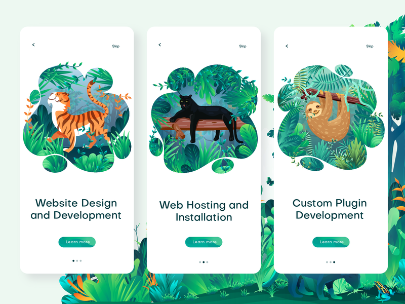Wildpress app illustration onboarding illustration onboarding onboarding ui onboarding screen website illustration vector jungle leaf forest sloth panther tiger ui illustration web page illustration digital art illustrator app illustration illustration