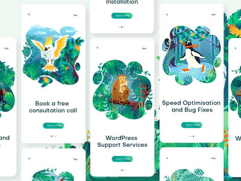 Wildpress app illustration vol. 2 animals web page illustation digital artwork jungle illustrator vector ui illustration icon illustration app illustration