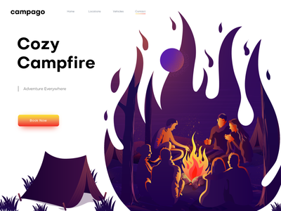 Cozy Campfire Illustration night illustration vector people home page illustration web page illustration landing page illustration ui illustration illustration campfire