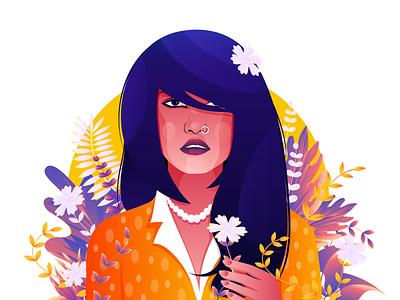 Girl with flower vector digital art gradient color women ui illustration illustraion