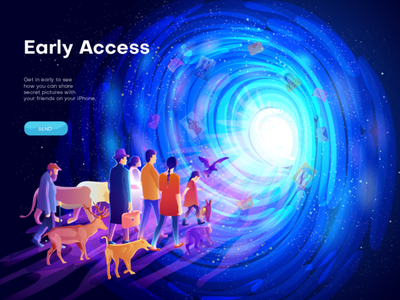 Hero image illustration for Early Access space outer space outerspace website illustration portal poster design banner design animals human people illustration illustrator colorful illustraion digital art hero images app illustration web page illustration vector ui illustration illustraion