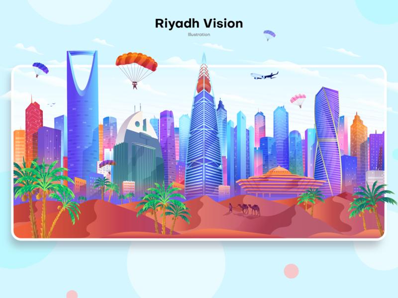 Riyadh Vision Illustration landing page illustration desert riyadh vector design buildings skyline illustration ui illustration home page illustration app illustration app screen city illustration
