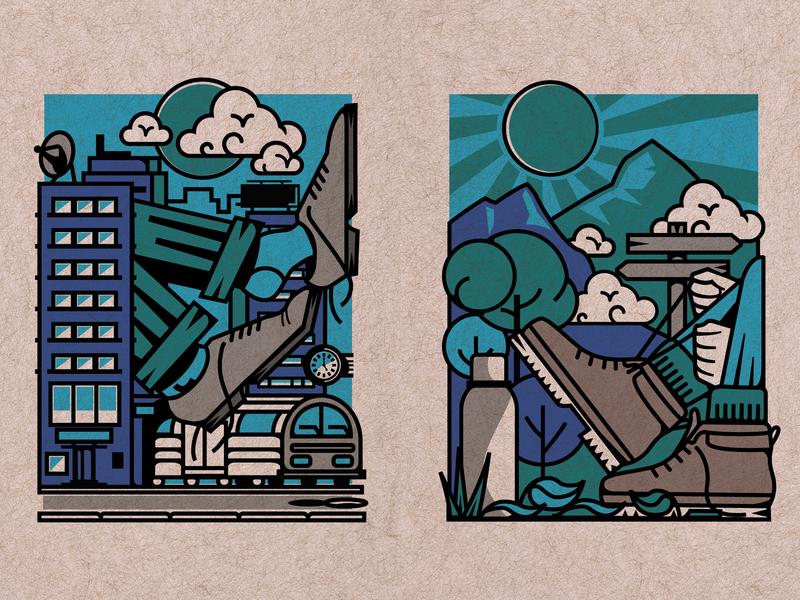 Weekend Metamorphosis weekend travel boots shoes city hills hiking urban lines vector texture illustration