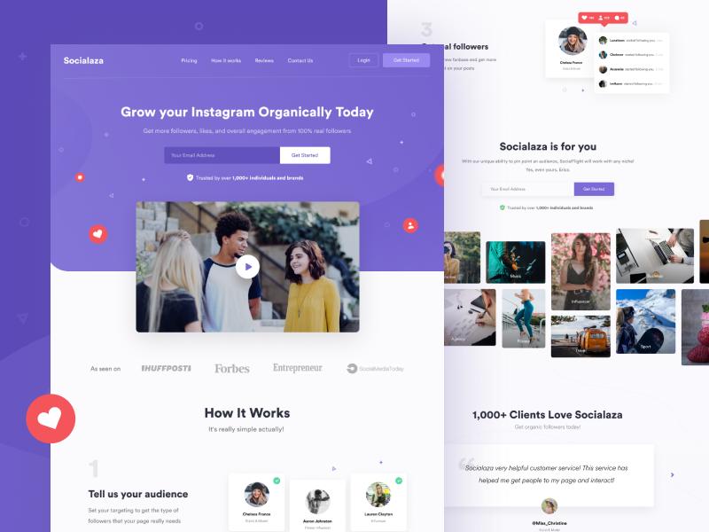 Socialaza - Landing page video grow social media instagram landing page design ui